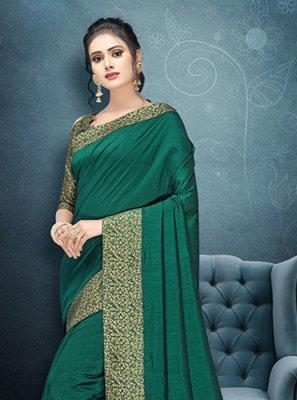 Patch Border Art Silk Silk Saree in Green
