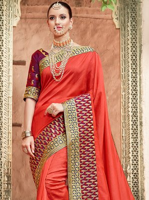 Patch Border Art Silk Traditional Designer Saree in Red