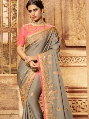 Patch Border Art Silk Traditional Saree in Grey