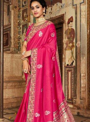 Patch Border Banarasi Silk Classic Designer Saree in Pink