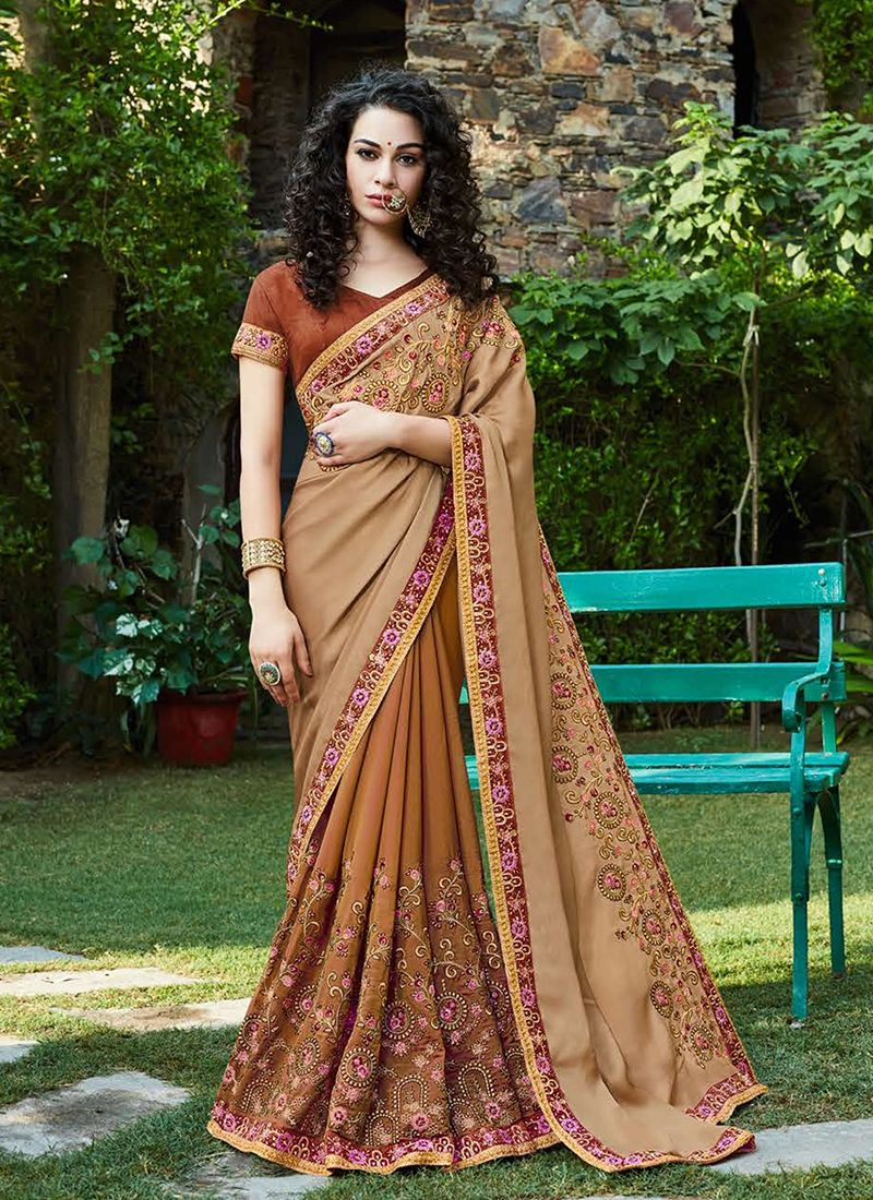 Patch Border Beige and Brown Half N Half Trendy Saree