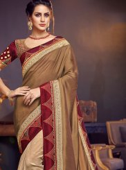 Patch Border Beige Designer Traditional Saree
