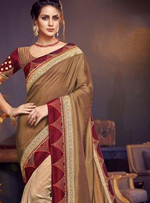 Patch Border Beige Designer Traditional Saree