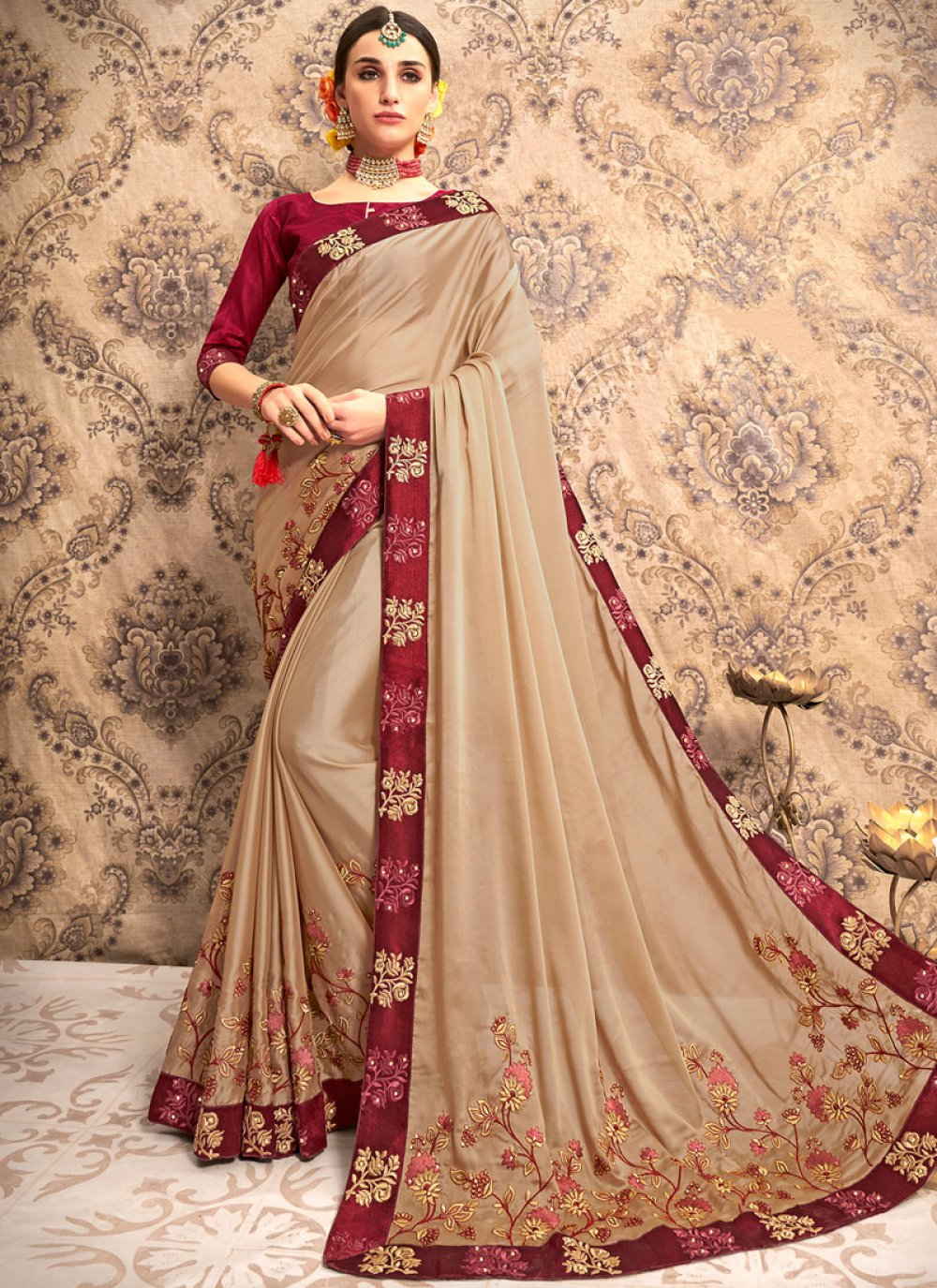 Patch Border Beige Traditional Saree