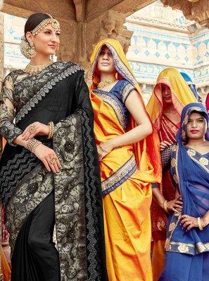 Patch Border Black Classic Designer Saree