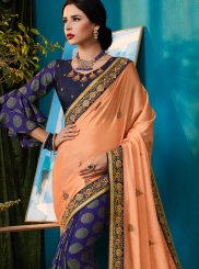 Patch Border Blue and Peach Faux Georgette Designer Half N Half Saree