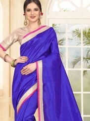 Patch Border Blue Art Silk Traditional Saree