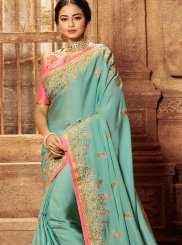 Patch Border Blue Designer Traditional Saree