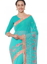 Patch Border Blue Faux Georgette Classic Designer Saree