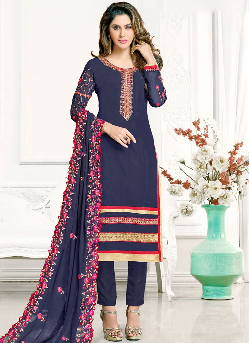 Patch Border Blue Faux Georgette Pant Style Suit