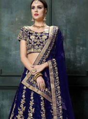 Patch Border Blue Raw Silk Lehenga Choli