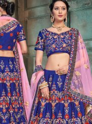 Patch Border Blue Satin Lehenga Choli