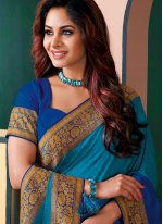 Patch Border Blue Shaded Saree