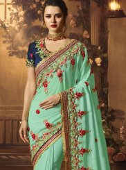 Patch Border Blue Traditional Designer Saree