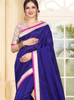 Patch Border Blue Traditional Saree