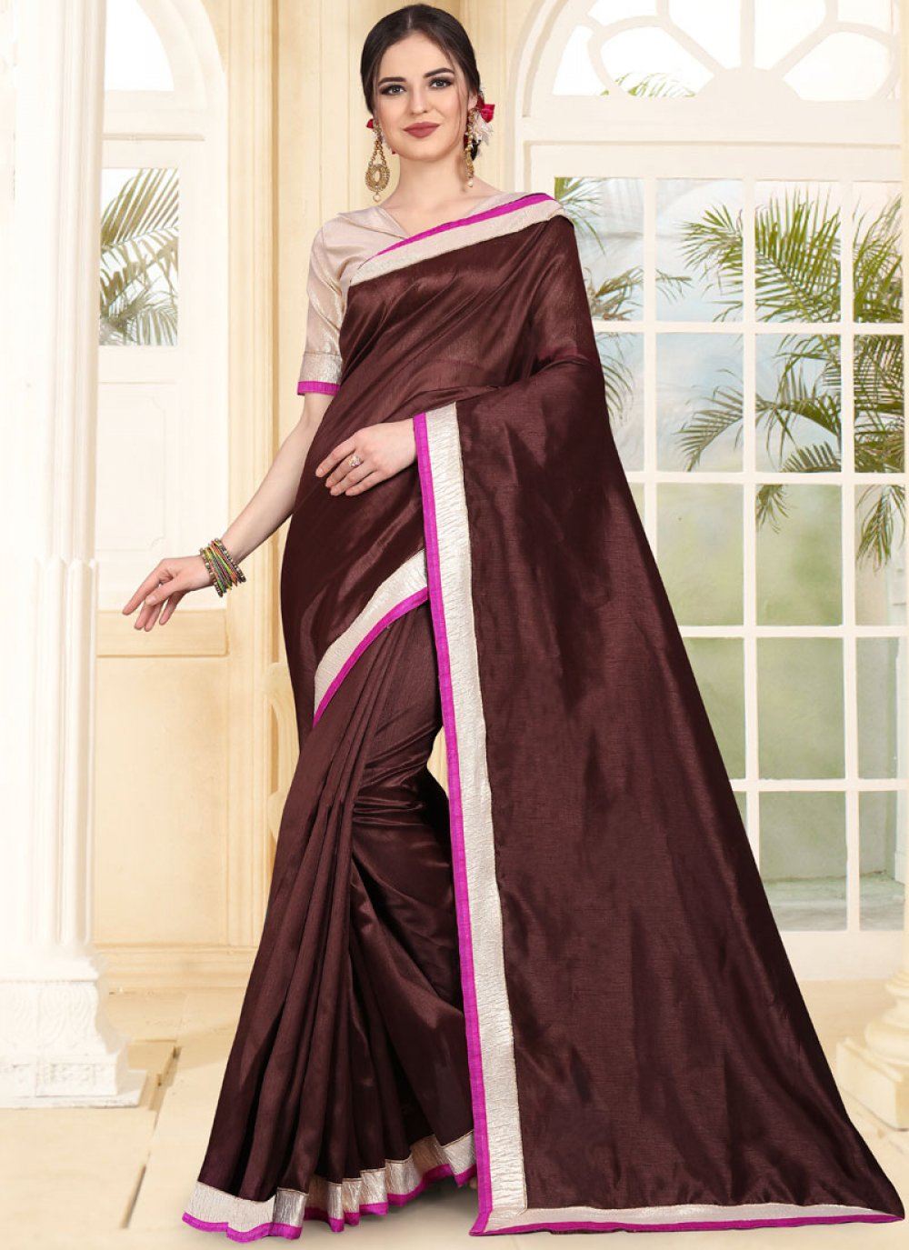 Patch Border Brown Art Silk Traditional Saree