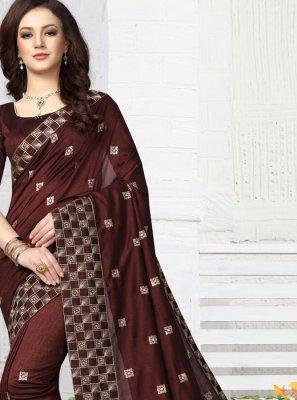 Patch Border Brown Traditional Designer Saree