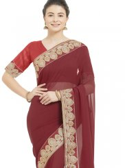 Patch Border Casual Casual Saree