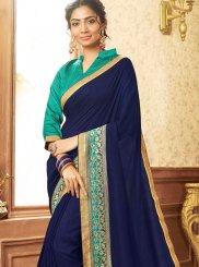 Patch Border Chanderi Blue Traditional Saree
