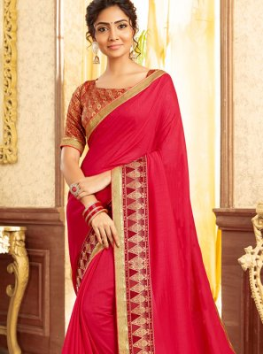 Patch Border Chanderi Traditional Saree in Hot Pink