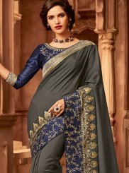 Patch Border Fancy Fabric Designer Traditional Saree in Grey