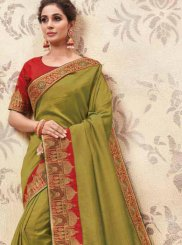 Patch Border Fancy Fabric Green Classic Saree