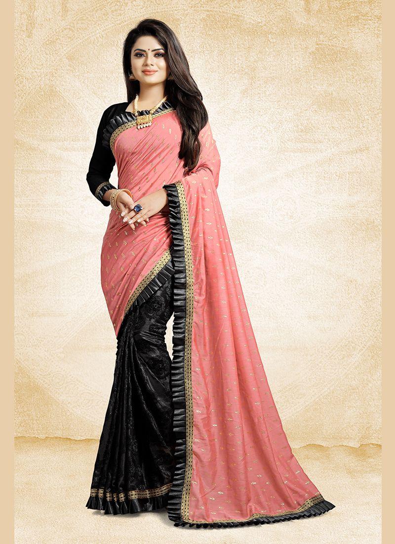 1b13ff89c Patch Border Fancy Fabric Half N Half Designer Saree buy online -