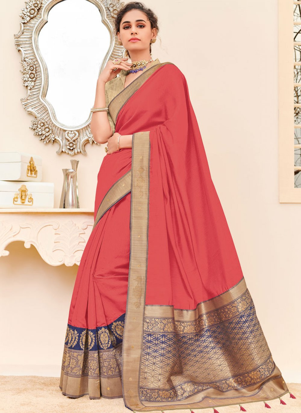 Patch Border Fancy Fabric Pink Traditional Designer Saree