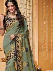 Patch Border Fancy Fabric Sea Green Trendy Saree