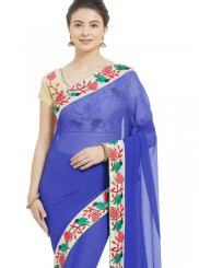 Patch Border Faux Chiffon Casual Saree in Blue