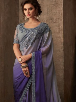 Patch Border Faux Chiffon Classic Saree in Grey and Lavender