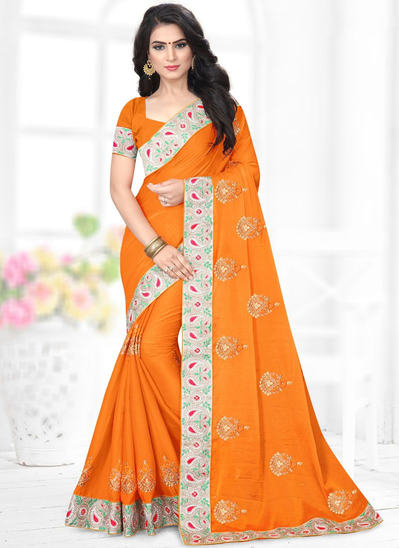 Patch Border Faux Chiffon Orange Classic Designer Saree