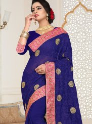 Patch Border Faux Georgette Blue Classic Designer Saree