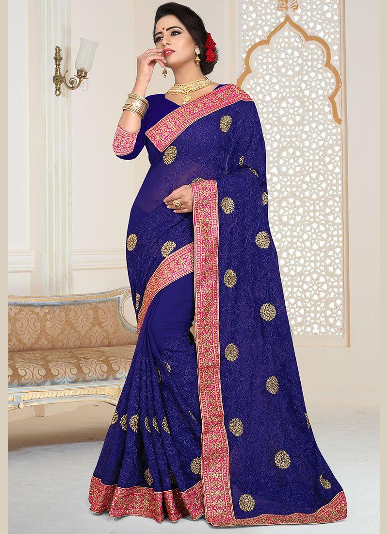 Patch Border Faux Georgette Blue Classic Designer Saree