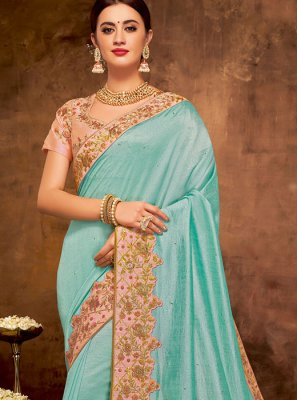 Patch Border Faux Georgette Classic Designer Saree