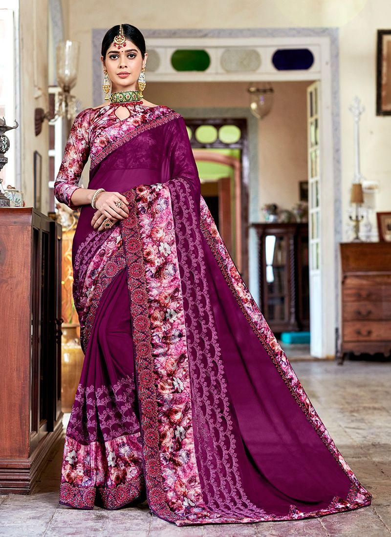Patch Border Faux Georgette Classic Saree