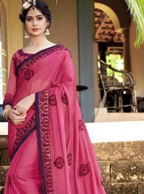 Patch Border Faux Georgette Hot Pink Classic Designer Saree