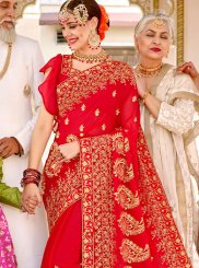 Patch Border Faux Georgette Red Classic Designer Saree