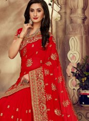 Patch Border Faux Georgette Red Classic Saree