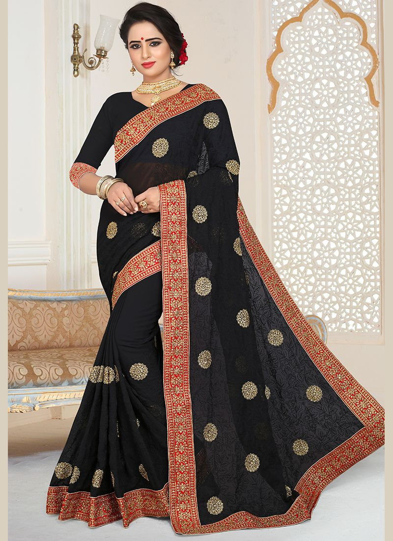 Patch Border Faux Georgette Saree