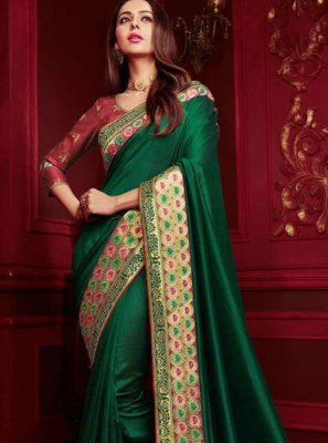Patch Border Georgette Satin Classic Designer Saree in Green
