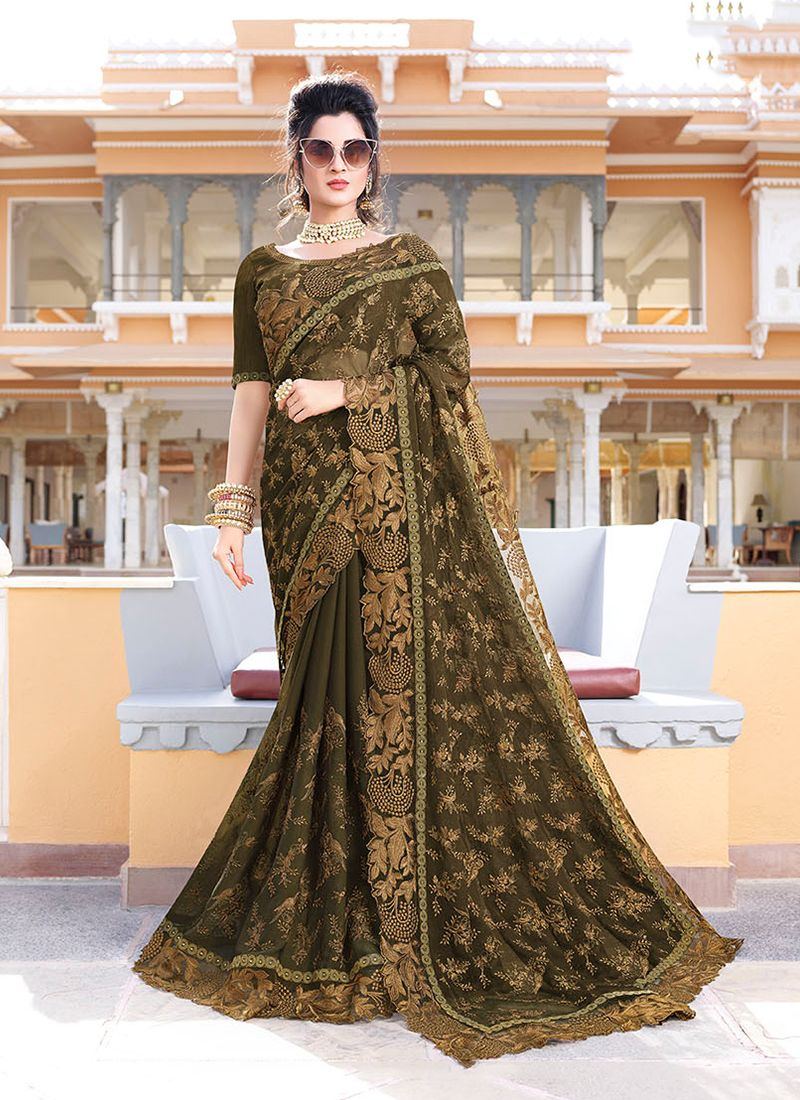 Patch Border Green Classic Designer Saree
