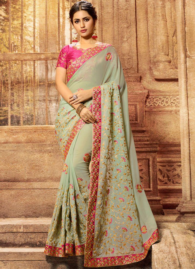 Patch Border Green Classic Designer Saree
