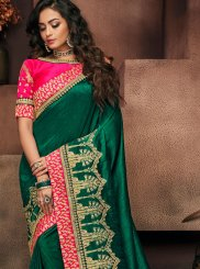 Patch Border Green Designer Traditional Saree