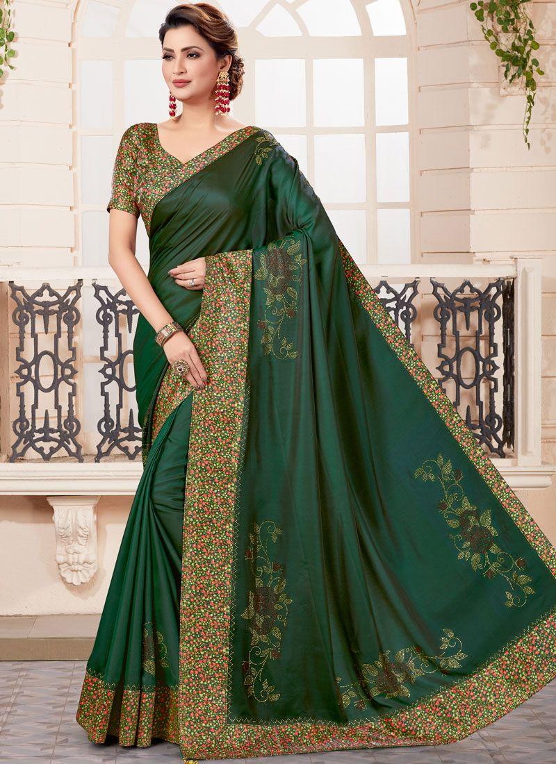 Patch Border Green Designer Traditional Saree