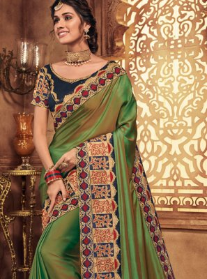 Patch Border Green Traditional Saree