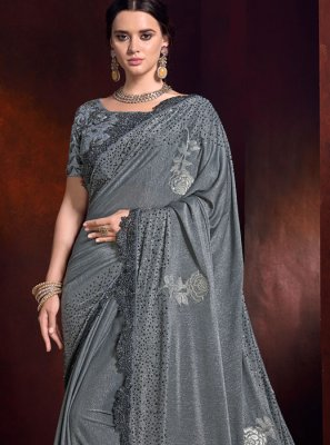 Patch Border Grey Fancy Fabric Trendy Saree