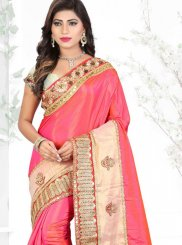 Patch Border Hot Pink Silk Saree