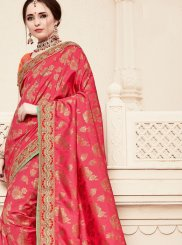 Patch Border Hot Pink Traditional Designer Saree