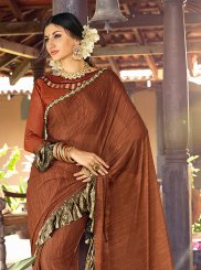 Patch Border Lycra Trendy Saree in Brown